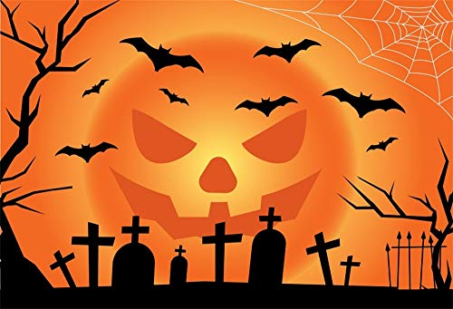 AOFOTO 5x3ft Halloween Cemetery Party Photography Background Cloth Flying Bats Bare Tree Pumpkin Face Gravestone Tomb Graveyard Backdrop for Photos Vinyl Photo Studio Props -