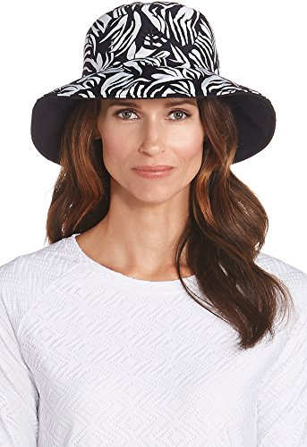 Coolibar UPF 50+ Women's Reversible Pool Hat - Sun Protective (One Size- Black Palm)