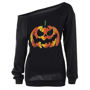 edad7da2 Dutebare Women Halloween Costumes Off Shoulder Sweatshirt Slouchy Long  Sleeve Pumpkin Shirt Black B M