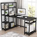 Tribesigns 67 Inches Large Computer Desk with 9 Storage Shelves, Office Desk Study Table Writing Desk Workstation with Hutch Bookshelf for Home Office, Black