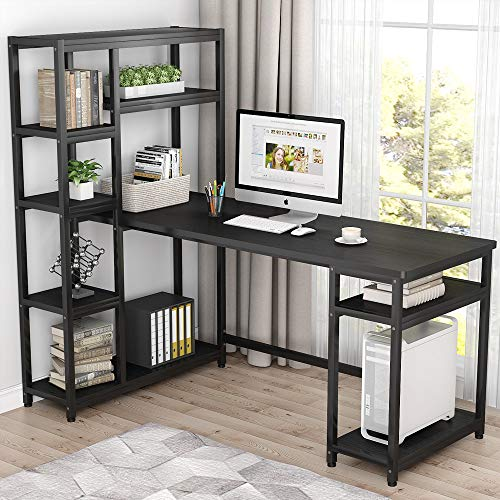 - Tribesigns 67 Inches Large Computer Desk with 9 Storage Shelves, Office Desk Study Table Writing Desk Workstation with Hutch Bookshelf for Home Office, Black