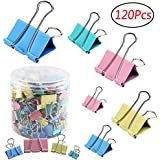 Codall 120 Pcs Colored Binder Clips Paper Clamp Clips Assorted 6 Sizes