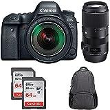 Canon EOS 6D Mark II 26.2MP Full-Frame DSLR Camera w/ EF 24-105mm IS STM Lens + Sigma 100-400mm F5-6.3 DG OS HSM Full Frame Telephoto Lens + 2x 64GB Memory Card + Tradewind DSLR Camera Backpack
