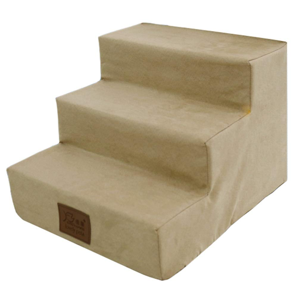 LXLA Dog Stairs in Light Khaki, 3 Steps Ladder for Small to Medium Pet, Suede Cover, Removable & Washable 40×38×30cm