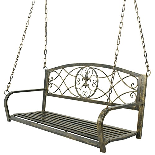 Nova Microdermabrasion Patio Metal Hanging Porch Swing Chair Bench Seat Outdoor Furniture with Hanging Iron Chains,Antique Bronze Finished,2 Person