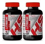 Tyrosine capsules - ORGANIC L-TYROSINE POWDER 500 MG - for brain function (2 Bottles)
