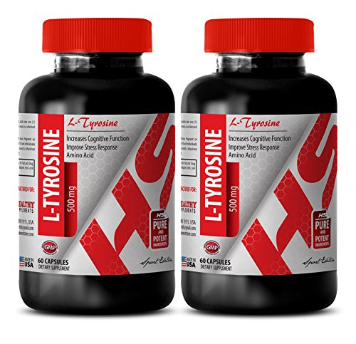 Tyrosine capsules - ORGANIC L-TYROSINE POWDER 500 MG - for brain function (2 Bottles) by Healthy Supplements LLC