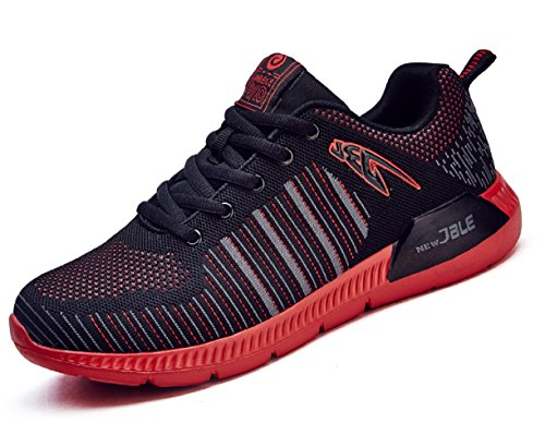 HOOH Lightweight Running Shoes Absorption Shock Sneakers Mens Sports Red Leisure rPrqESw