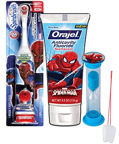 "Super Hero Inspired 3pc Bright Smile Oral Hygiene Set! Spider-Man Turbo Powered Toothbrush, Toothpaste & Mouthwash Rinse Cup! Plus Bonus ""Remember to Brush"" Visual Aid!"