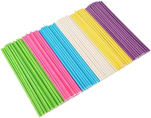 eBoot 150 Counts 6 Inch Lollipop Sticks Paper Colorful Cake Pop Sticks for Party Birthday, 6 Colors