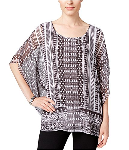 JM Collection Womens Printed Butterfly-Sleeve Pullover Blouse openadventure L