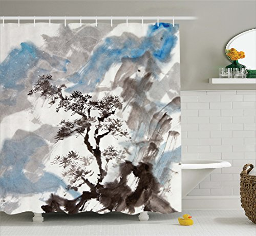 Ambesonne Japanese Decor Collection, Hazy Artistic Depiction of A Pine Tree Landscape on the Hill Mountain with Rough Blasts , Polyester Fabric Bathroom Shower Curtain, 84 Inches Extra Long, Blue Grey