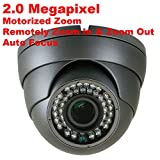 GW Security 2MP HD-CVI / TVI / AHD 4-In-1 Sony Cmos Motorized Zoom 2.8-12mm Varifocal Lens Auto-Zoom & Auto-Focus Day/Night Waterproof Dome 1080P Security Camera