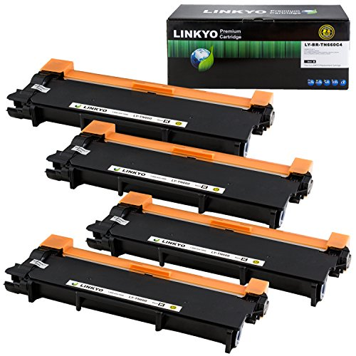 LINKYO Replacement for Brother TN660 TN-660 TN630 TN-630 Toner Cartridge (High Yield, Black, 4-Pack)