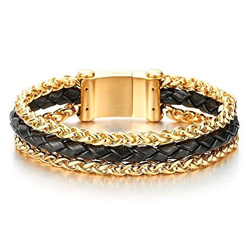 024700f5ff30 De alta calidad Hombre Acero Inoxidable Color Oro Cadena de Trigo y Negro  Cuero Trenzado Pulsera