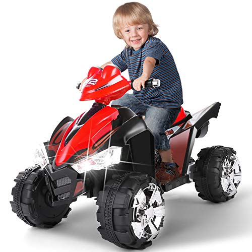 Artist Hand 12V Kids Ride On Cars Electric Vehicles Power Wheels for Kids, 2 Speeds, Head Lights, 4 Wheels, Red