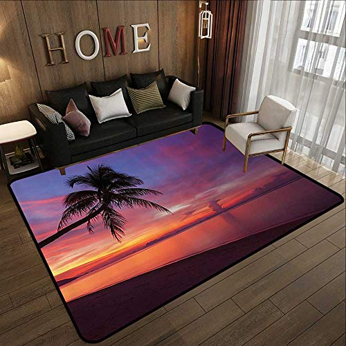 (Carpet Flooring,Ocean Decor Collection,Tropical Sunset with Palm Tree Silhouette at Clean Sandy Beach Clouds at Horizon View Print,Orang 71