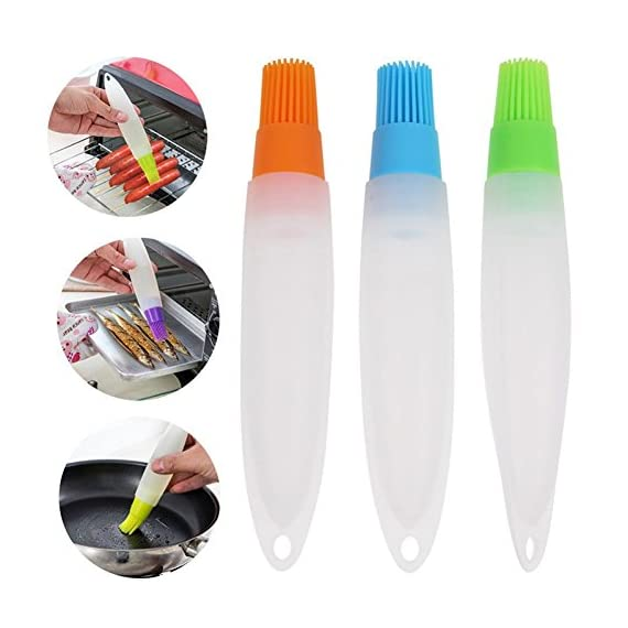 Ruimin 1pc Multifunction Silicone Grill Barbecue Baking Pastry Oil Honey Sauce Bottle Brush with Dispenser For Baking Grilling Basting Marinating 1 Not include toxic ingredients Easy to use,convenient to clean Ergonomics brush handle design,Simple and beautiful design
