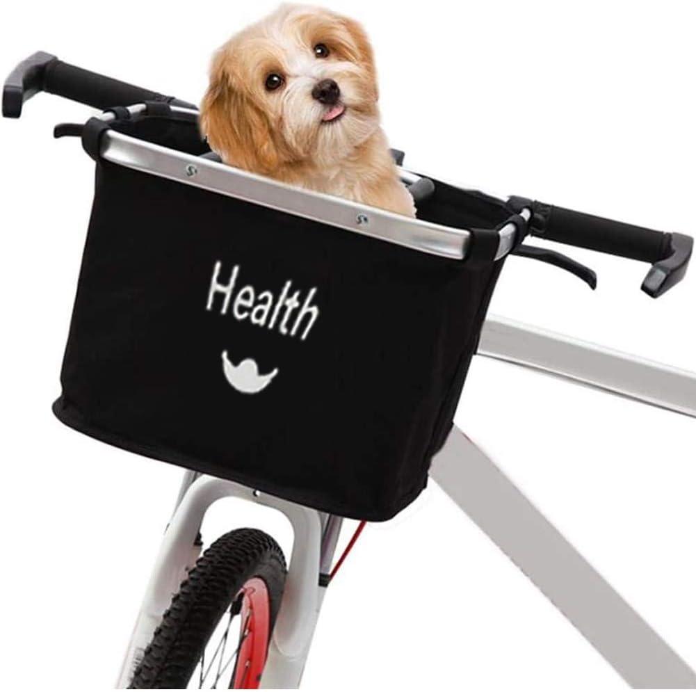 Camping y al Aire Libre Bolso de la Bici Bicicleta Cesta Desmontable del Frente del Portador del Animal dom/éstico Lona Front Manillar de la Bicicleta Cesta para Mascotas IR de Compras