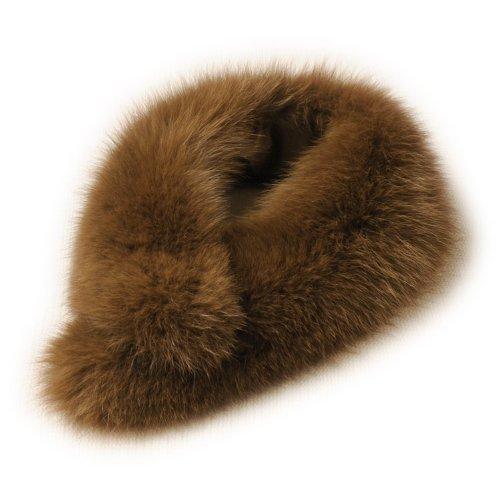 [サガ]SAGAファーマフラー毛皮フォックス:キャメルブラウン