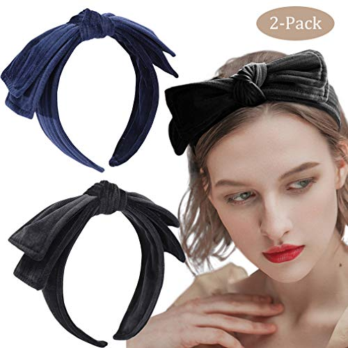 2 Pack Velvet Headband Bow Knot Wide Layered Hair Band Hair Hoop Hair Accessories for Women Girls (bow 1)