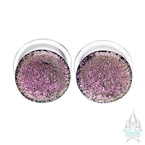 Buddha Jewelry Organics Single-Flared Glass Dichro Plugs - Pink, 1/2