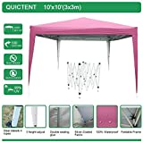 Quictent 10x10 EZ Pop Up Canopy Tent Instant Folding Party Tent Outdoor Canopy 100% Waterproof with Portable Carry Bag - 5 Colors (Pink)