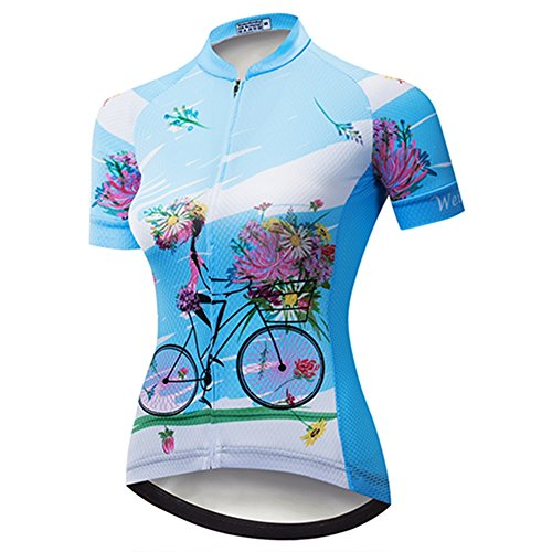 Weimostar Women's Cycling Jersey Short Sleeve Shirt Mountain Bike Jersey Bicycle Clothing Quick Dry Blue Girl Riding a Bicycle Size S (Best Cycling Clothing Brands 2019)