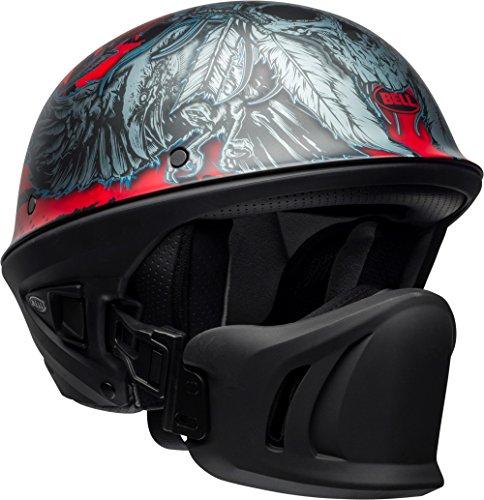 Bell Rogue Half Size Motorcycle Helmet (Airtrix Matte Black/Red/Titanium, - Bell Racing
