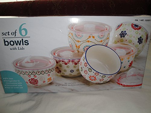 Signature Housewares Gypsy 5'' Storage Bowl & Lid Set of 6