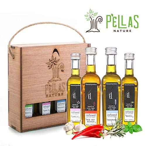 (Organic herb Infused Olive Oil Set | Finishing Extra Virgin Olive Oil | Basil | Garlic | Rosemary | Red Hot Pepper | Wooden Gift Set | Single Origin Greek oil | 4 X 1.7oz French Bottles)