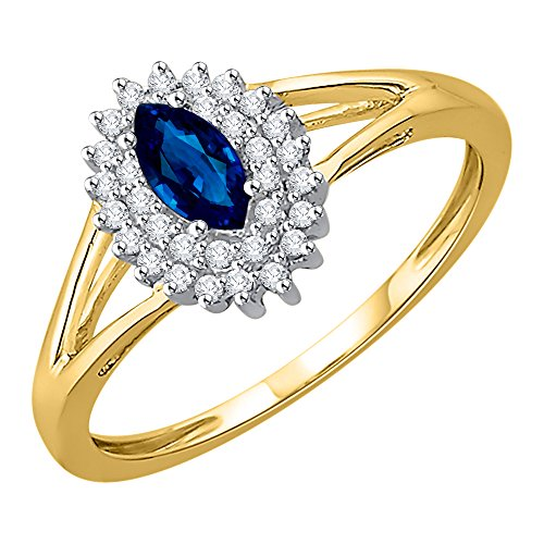 KATARINA Diamond and Marquise Cut Sapphire Anniversary Ring in 14K Yellow Gold (1/2 cttw, G-H, I2-I3) (Size-8) ()