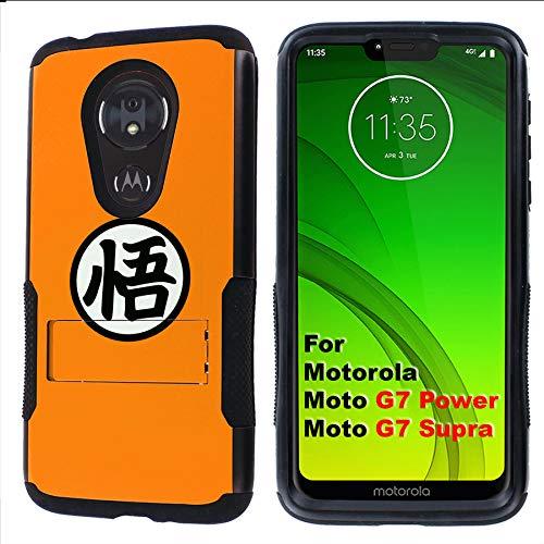 (G7 Power/Supra Rugged Case [Mobiflare] [Black] Air Grip Clamshell Case with Kickstand [Son Goku] for Motorola G7 Power/Supra)