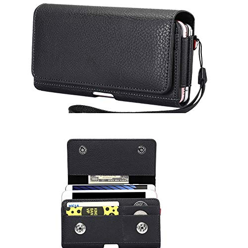 Cell Phone Dual Case Pouch Horizontal Double Decker Belt Clip Loop Holster Holder w Card Slot for Samsung Galaxy Note 10…