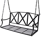 Bizzoelife Hanging Patio Porch Swing Bench Metal Swing Chair with Iron Chains for Yard Garden Lawn (4ft, Black)