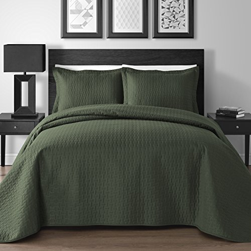 UPC 603964865403, Extra Lightweight 3 Piece King & Queen Home Thermosonic Embossed Frame Coverlet Bedspread Set (Full/Queen, Sage)