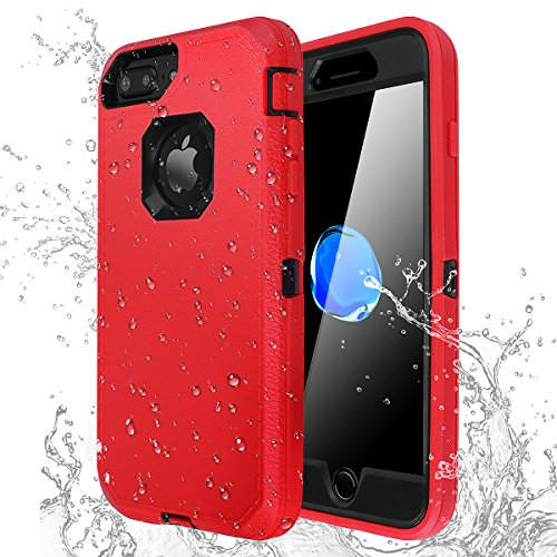 - iPhone 7 Plus/8 Plus Shockproof Case,AICase [Heavy Duty] [Full Body] Built-in Screen Protector Water-Resistance Cover for Apple iPhone 8 Plus/7 Plus/6 Plus/6s Plus (Black+Red)