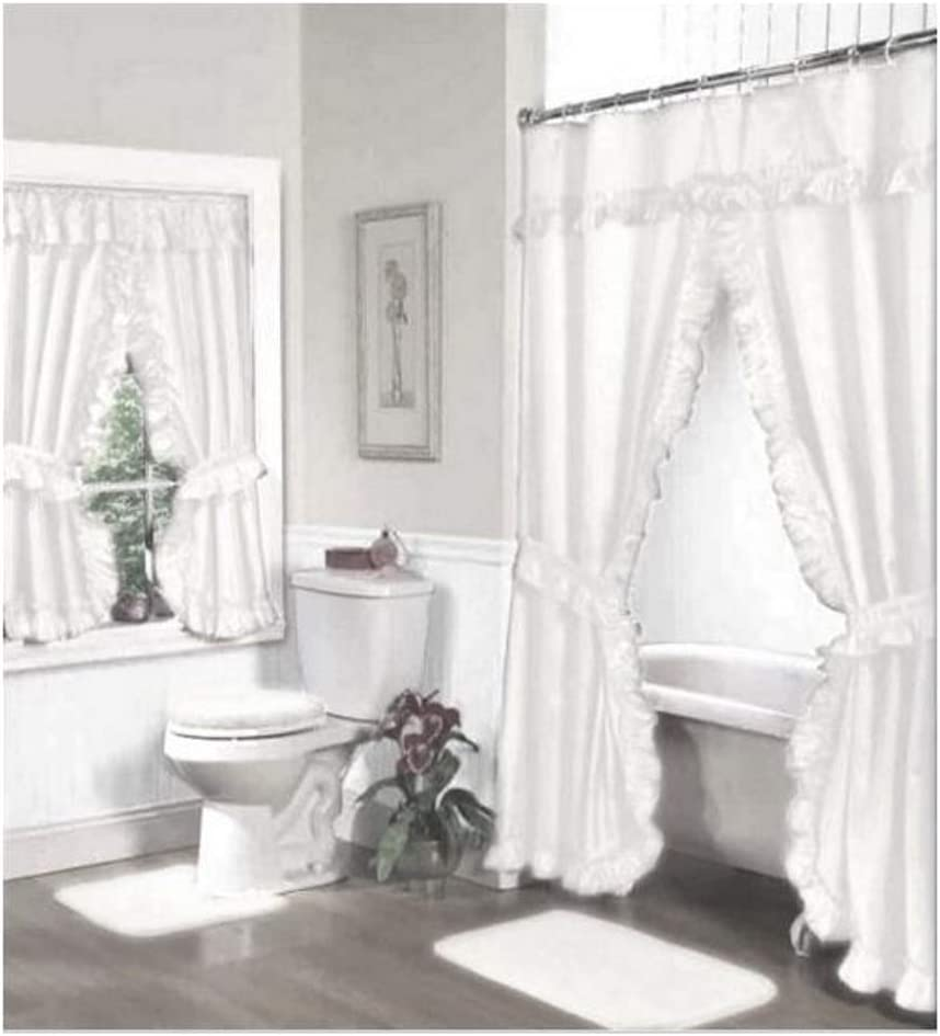 Home Fashions White Double Swag Shower and Window Curtain Set with Liner