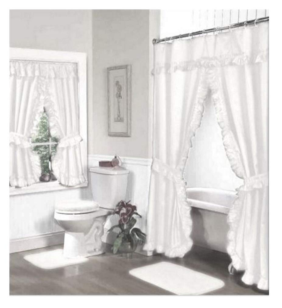 Amazoncom Home Fashions White Double Swag Shower And Window