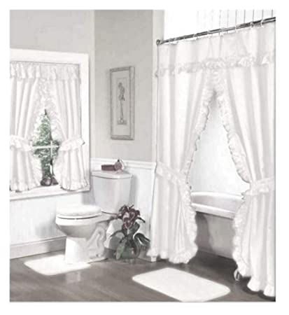 Image Unavailable Not Available For Color Home Fashions White Double Swag Shower And Window Curtain Set