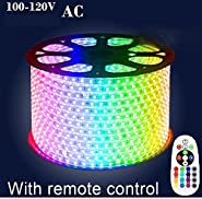 5050 RGB Waterproof IP67 LED Strip + Remote Control + Power 20m AC 100-120V