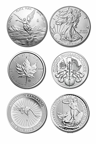 2018 World Bullion Collection 1oz Pure Silver Complete 6 Coin Set Uncirculated (Silver Mexican Coin Set)