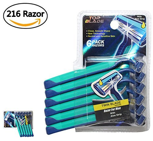 TOP BLADE, Wholesale, 216 Razors Cheap Disposable Razors with Aloe for Men, 6 Count Packages (Pack of 36) by Top Blade