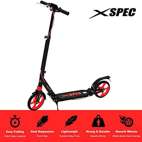 Xspec 921 Folding Adult Kick Street Scooter with Full Suspension, Dual Rear Wheel Braking System and Kick Stand, Supports 220 lbs, City Urban Commuter Street Scooter, Aluminum Frame, Carrying Strap