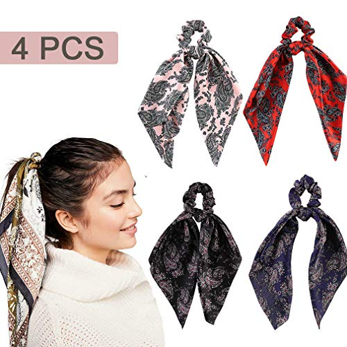 4 Pcs Hair Scrunchies Satin Silk Hair Scarf Band Ponytail Holder Bandana Elastics Scrunchy Ties Soft Ropes for Women Girls Hair Acessories