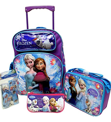 "Frozen Disney Large 16"" Rolling Backpack Roller Wheeled B..."