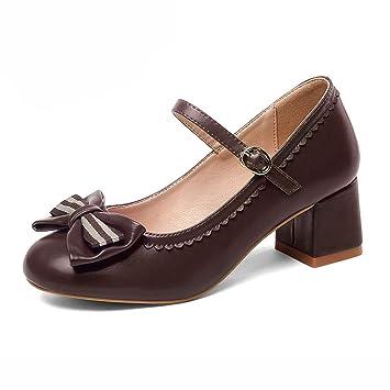 bajo precio be17c 04e41 Zapatos para mujer HWF Vintage PU Cuero Tacones Mediados de ...