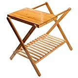 UNKU Folding Luggage Rack with Storage Shelf, Wooden Suitcase Luggage Stand for Bathroom, Bedroom, Living Room, Guest Room, Natural Color