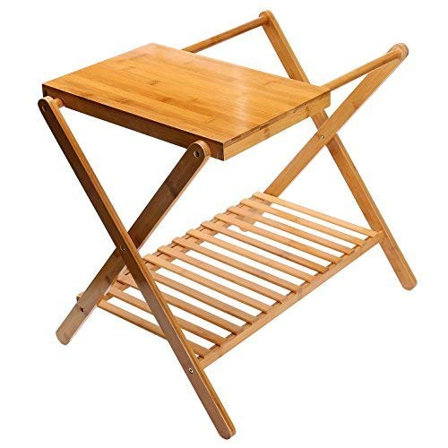 C&AHOME Bamboo Multifunction Foldable Luggage Rack with a Lower Shelf