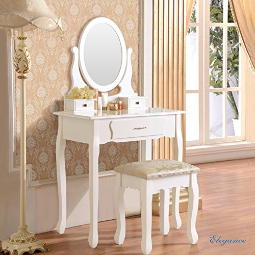 Mecor Vanity Makeup Table Set 3 Drawers Dressing Table with Stool ,White